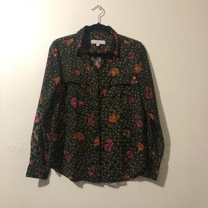 LOFT Green Floral Blouse